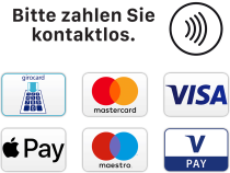 Wir akzeptieren ec, girocard, mastercard, visacard, maestro, vpay, nfc, paypass.